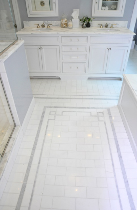 Greek key tiles transitional bathroom muse interiors White border tiles bathrooms