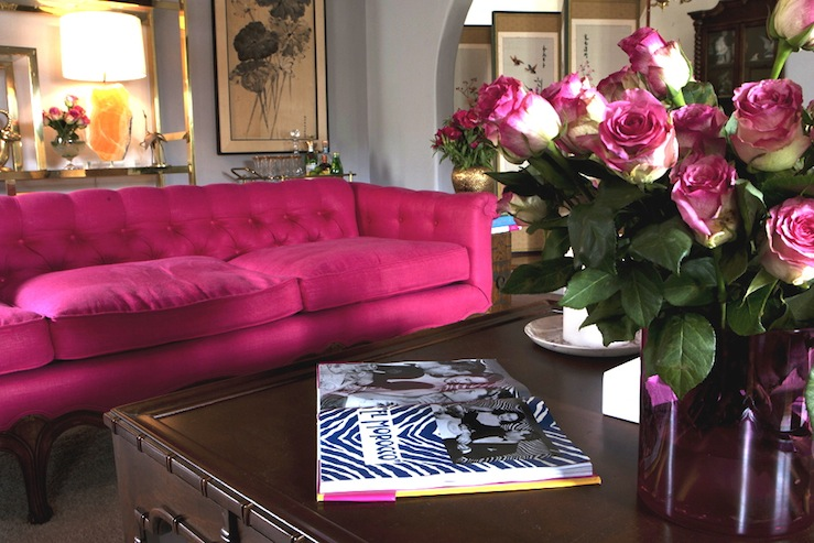Hot pink sofa eclectic living room emily henderson - Hot pink room ideas ...