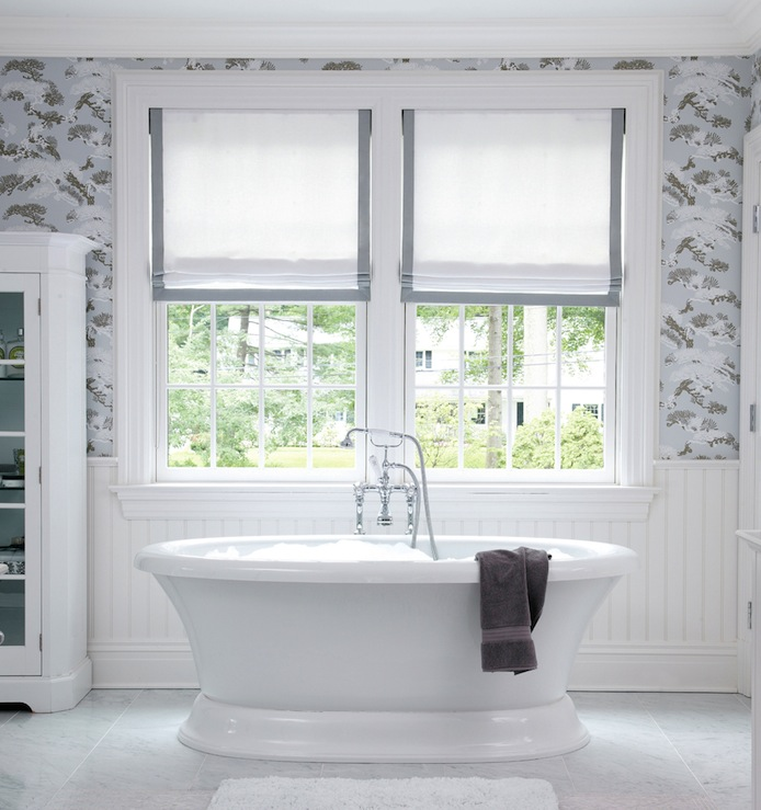 Grsograin Roman Shades Transitional Bathroom Muse