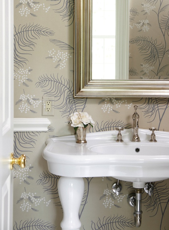 elegant small powder room design with white parisian pedestal sink polished nickel faucet silver leaf beveled mirror mint julep vase and gray wallpaper - Powder Room Pedestal Sink