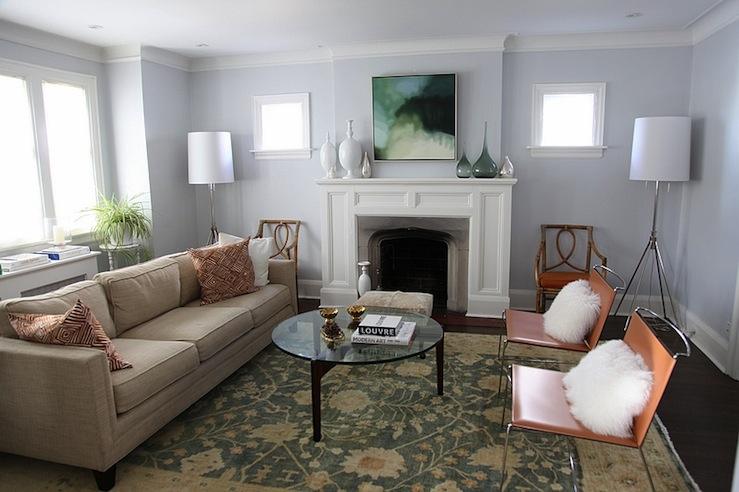 Chic And Comfy Living Room Design With Williams Sonoma Spring Blossom  Oushak Rug, Orange Leather Modern Chairs, Mushroom Linen Modern Cushion  Sofa, ...