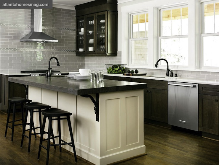 Distressed kitchen cabinets contemporary kitchen atlanta homes lifestyles - White kitchen with dark island ...