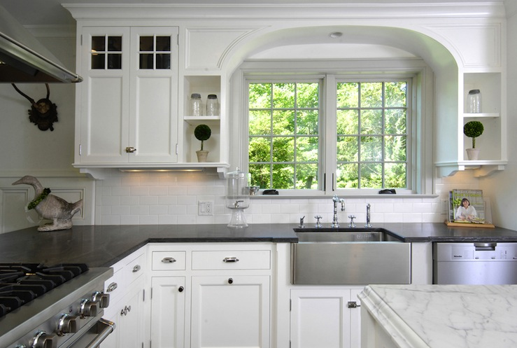 Soapstone countertops transitional kitchen muse interiors - White kitchen dark counters ...