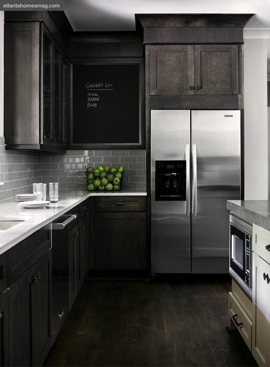 Dark Distressed Kitchen Cabinets Contemporary Kitchen