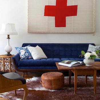 Blue Velvet Sofa, Eclectic, living room, Emily Henderson