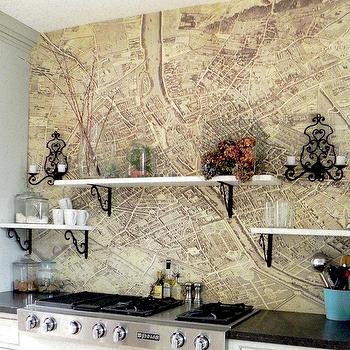 Vintage Map Backsplash, Eclectic, kitchen, Pearhouse Designs