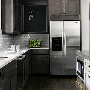 Gray distressed kitchen cabinets roselawnlutheran for Grey floor black cabinets