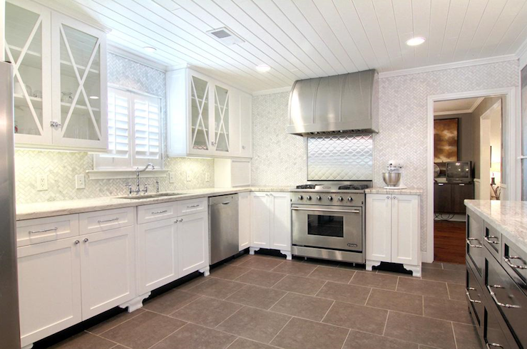 White Kitchen Herringbone Backsplash white and gray herringbone marble kitchen backsplash tiles design