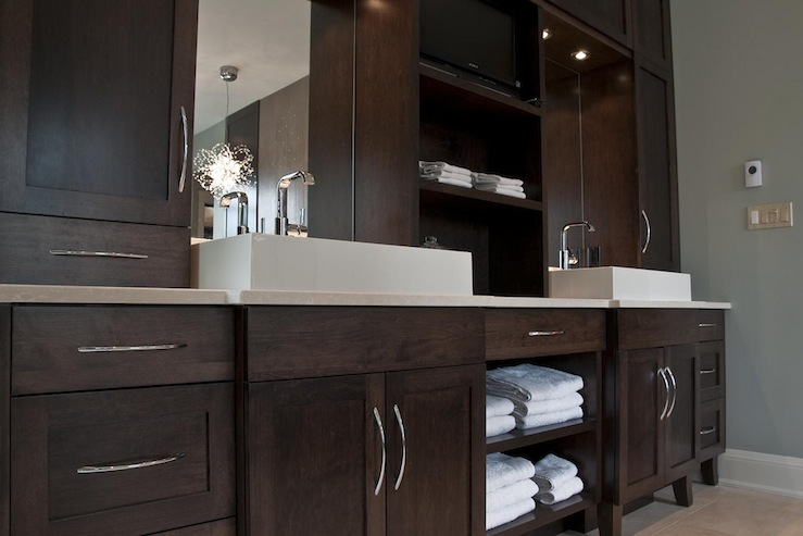 espresso cabinets contemporary bathroom deslaurier