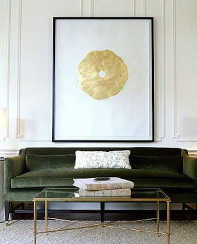 green velvet sofa contemporary living room
