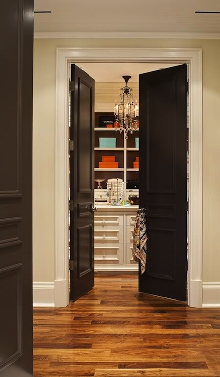 Black french doors transitional closet house home Best white paint for interior doors