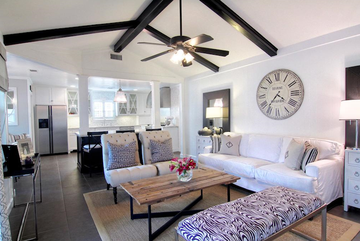 Black Wood Beams Transitional Living Room Cote De Texas