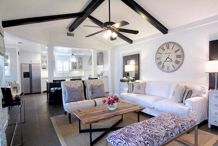 Black wood beams transitional living room cote de texas for 10 x 20 living room designs