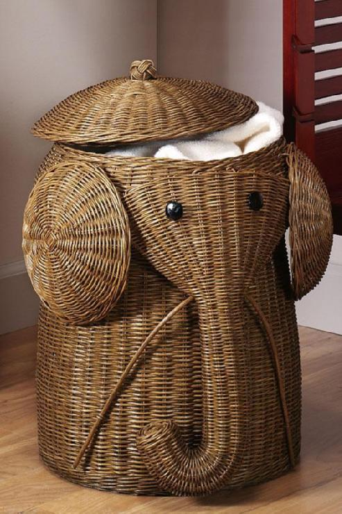 Rattan Elephant Hamper Laundry Hampers Bath