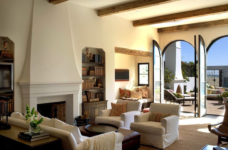 White Brick Fireplace with Built Ins - Mediterranean - Living Room