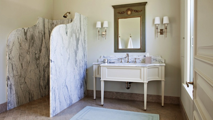 Marble Shower Partition French Bathroom Studio