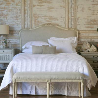 Eloquence sophia upholstered headboard antique white for Classic french beds