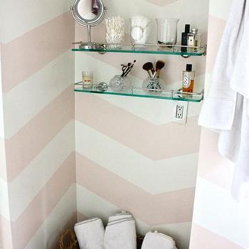 Chevron walls eclectic entrance foyer rue magazine for Pink glass bathroom accessories