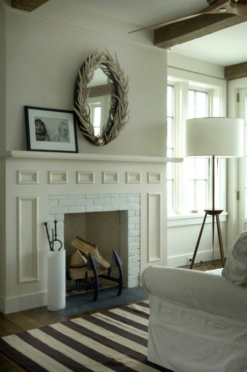 Brand new Mirrors Above Fireplace - Cottage - living room - Benjamin Moore  JW44