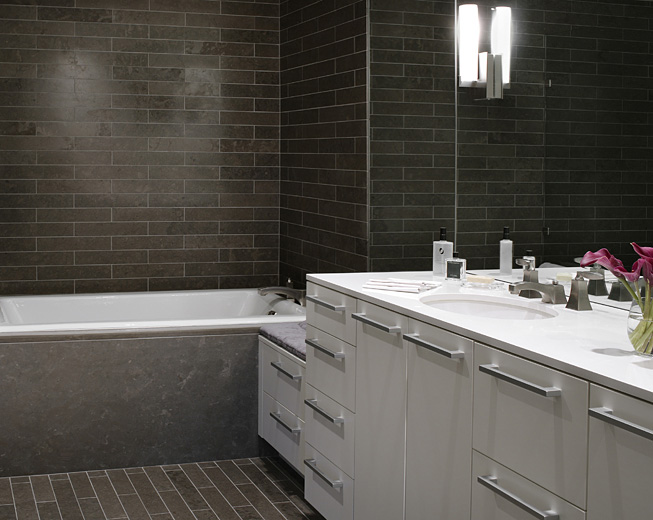 Cool Bathroom Glass Tile Vanity Backsplash Installation In Fort Collins