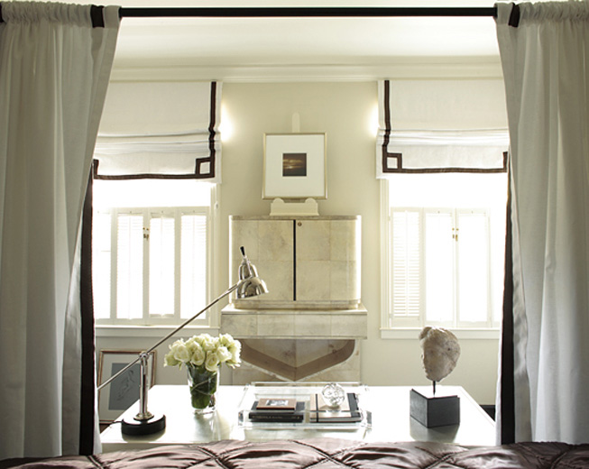Greek Key Roman Shade Transitional Bedroom Beth Webb