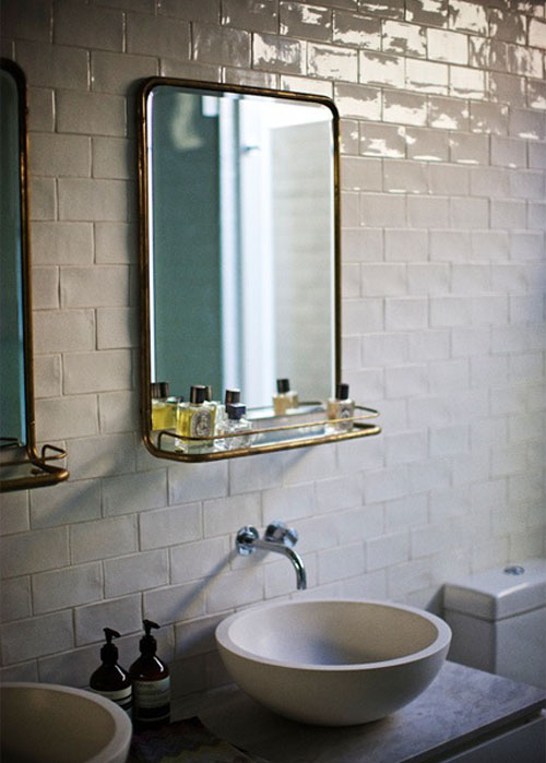 via pinterest eclectic bathroom design with white crackled subway tile