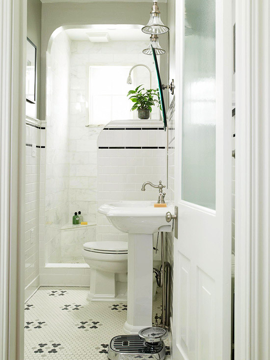Frsoted glass door cottage bathroom bhg - Bathroom door ideas for small spaces ...