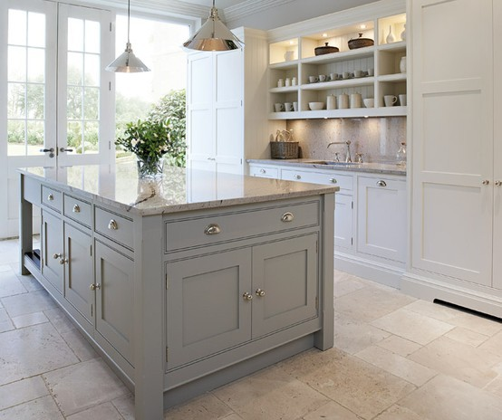 Gray And White Kitchen Designs Inspiration Gray Kitchen Island  Cottage  Kitchen  Tom Howley Design Inspiration