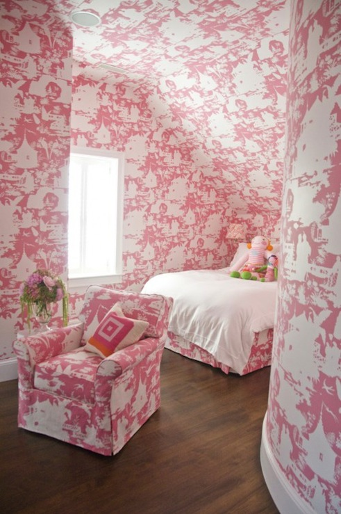 Hot Pink Bedroom Wallpaper Pink Pink Girl's Bedroom With