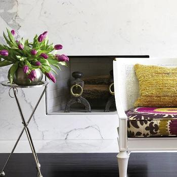 White Marble Fireplace, Contemporary, living room