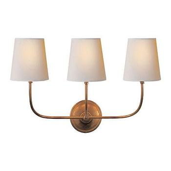 Visual Comfort Lighting Lights, Visual Comfort, Visual Comfort Lighting, Alexa Hampton, Visual Comfort Sconces, Lighting New York, Lighting Fixtures, Visual Comfort Thomas OBrien Vendome Triple Sconce in Hand-Rubbed Antique Brass with Natural Paper Shade TOB2009HAB-NP