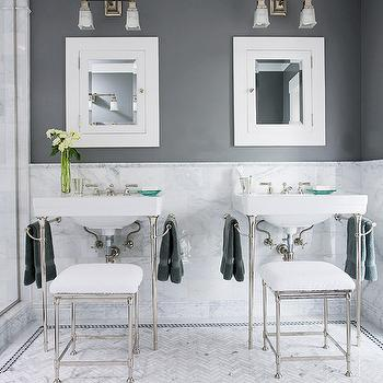 Marble Herringbone Floor, Contemporary, bathroom, BHG