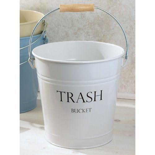 Galvanized Wastebasket, White|Organize.com