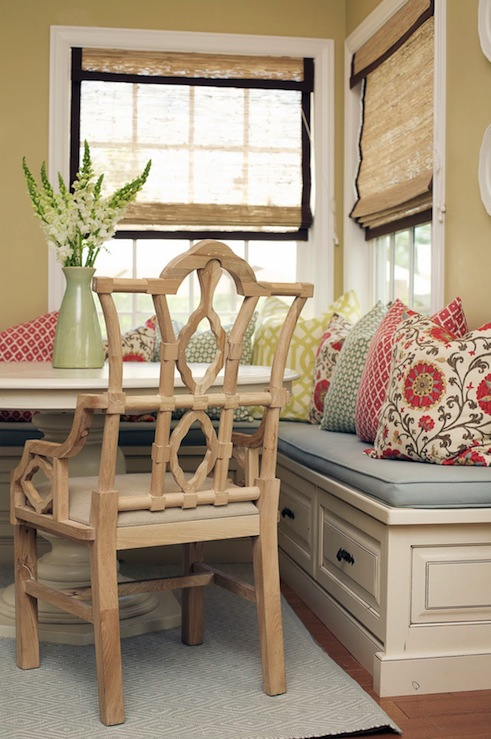 Built in dining banquette cottage dining room caitlin creer interiors - Built in banquette dining sets ...