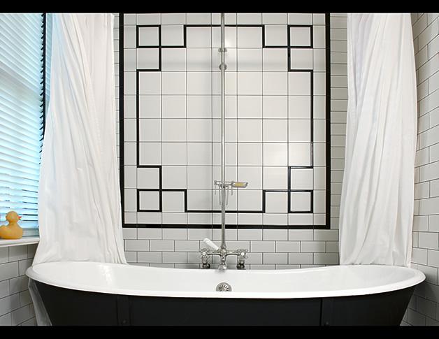 White Tile Shower Eclectic Bathroom Barnes Vanze
