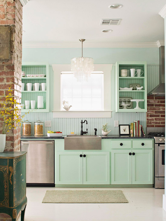 Mint green cabinets eclectic kitchen for Green kitchen cabinets