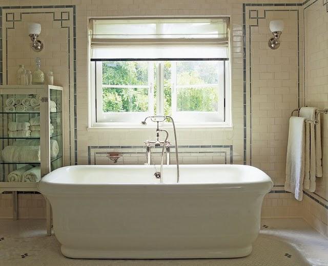 Greek key tiles transitional bathroom roman and williams for Roman bathroom designs