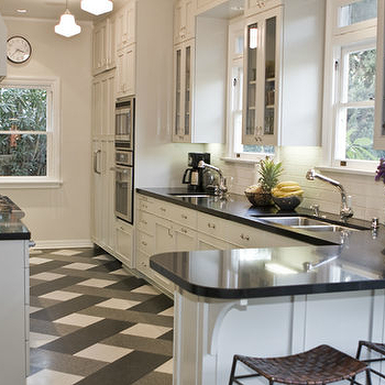 Black and White Floor And Gray Kitchen Design Ideas