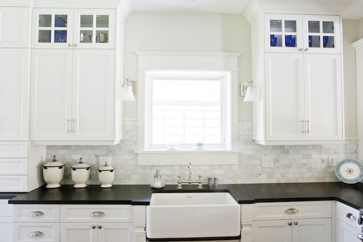 Honed black granite countertops traditional kitchen tiek built homes - White kitchen dark counters ...