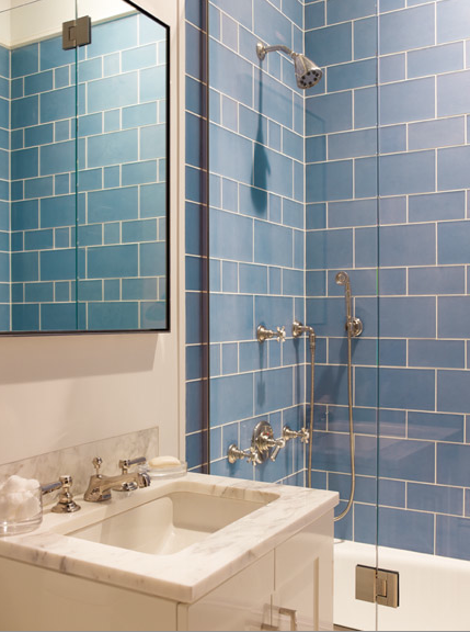 Blue shower tiles contemporary bathroom mendelson group for Blue tile bathroom ideas