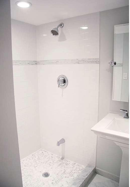 subway tile shower - White Subway Tile Shower