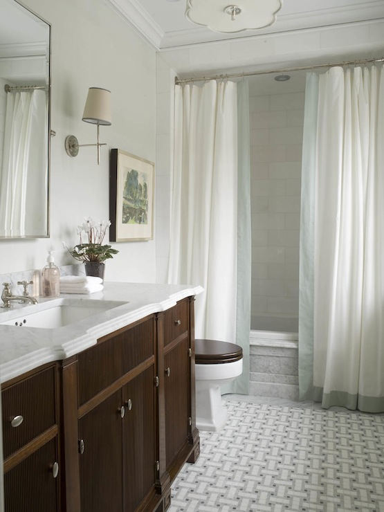 Double Shower Curtains - Transitional - bathroom - Phoebe Howard