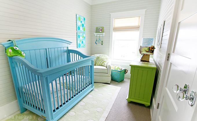 Turquoise Crib - Cottage - nursery - Hiya Papaya