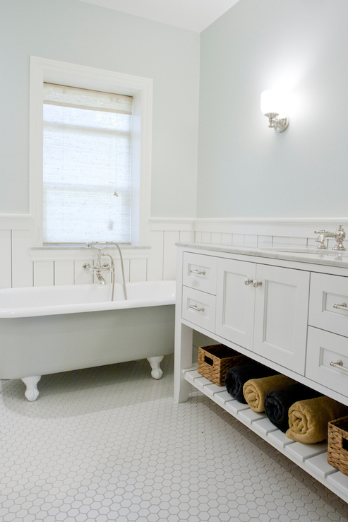 Vintage Hex Floor Cottage Bathroom Tiek Built Homes