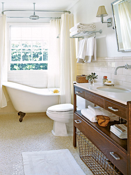 Clawfoot tub bathroom design cottage bathroom my home ideas - Small cottage style bathroom vanity design ...