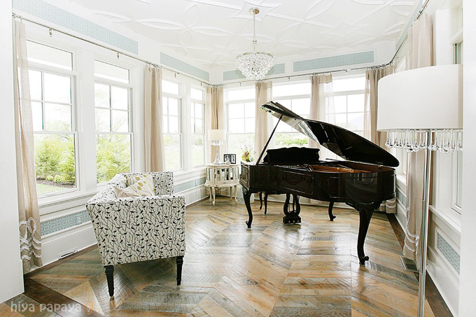 Lindy Allen   Stunning Music Room With Blue Gray Geometric Wallpaper,  Detailed Coffered Ceiling, Wood Floors In A Herringbone Pattern, Black Grand  Piano, ... Part 68