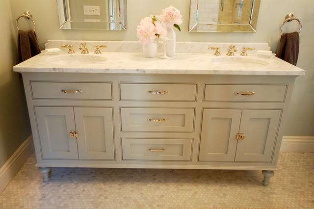 ... Double Bathroom Vanity Painted Benjamin Moore Fieldstone In Satin  Impervo, Marble Counter Top, Honed Carrara Marble Hex Tiles Floor And Allen  + Roth ...