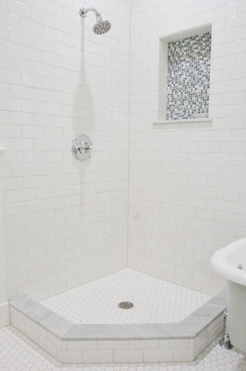 view full size - White Subway Tile Shower
