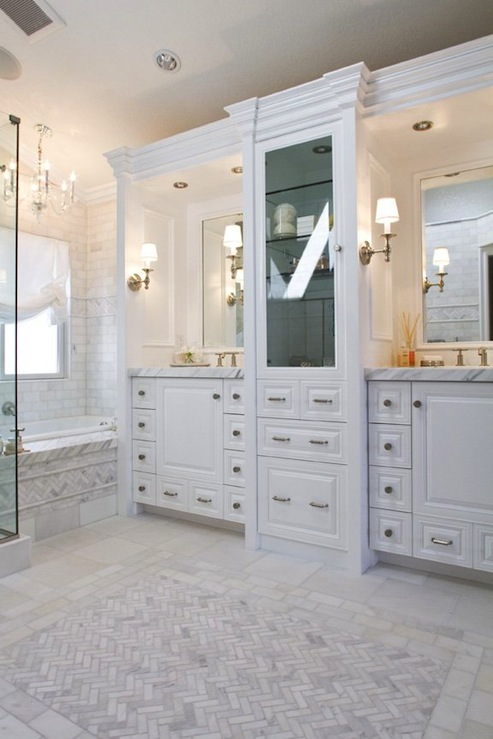 bathroom design with custom built white bathroom vanities cabinet