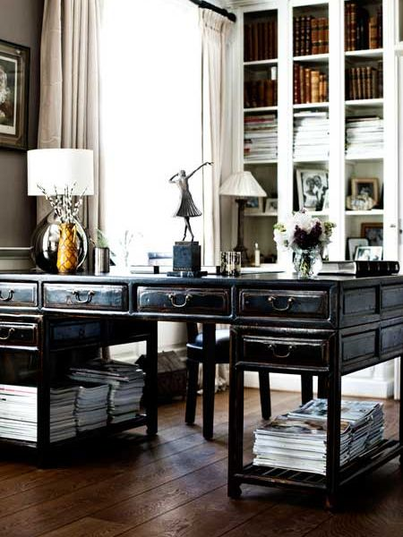Masculine Home Office Decor Black White
